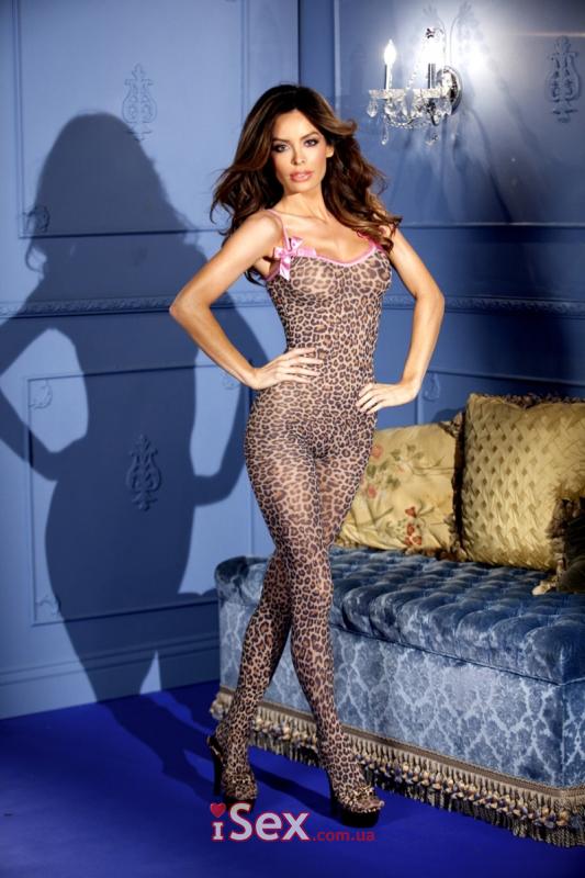 Леопардовый комбинезон с вырезом между ног