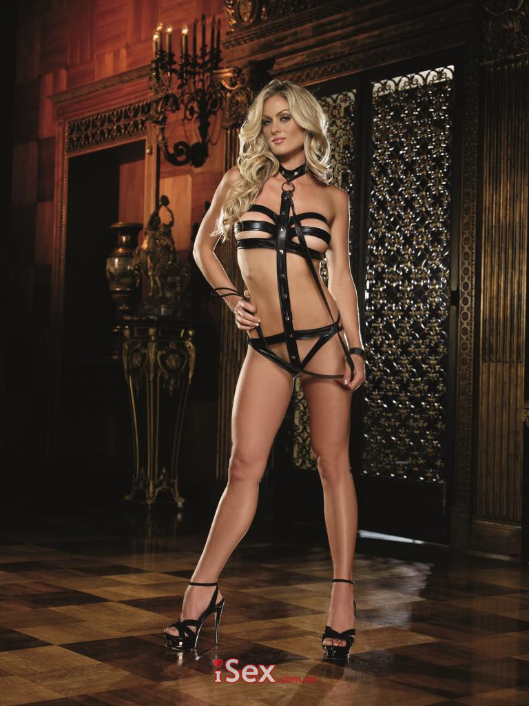 Боди Vinyl Strappy Teddy With Leash