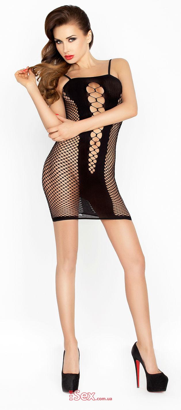 Эротическое платье-сетка с тонкими бретельками