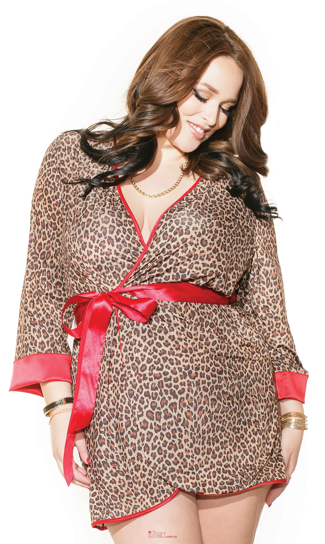 Сексуальный халатик в леопардовом принте Robe