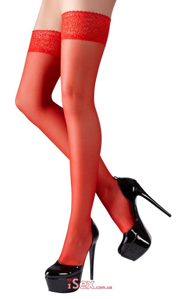 Кружевные красные чулки