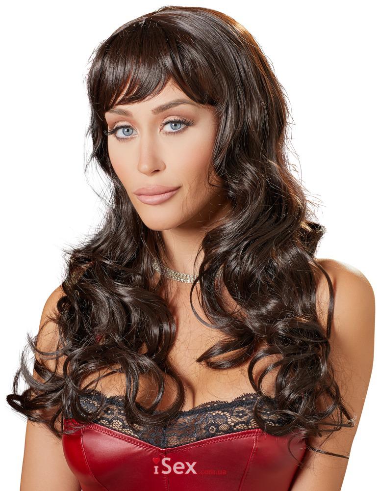 Парик длинные волосы шоколадного цвета
