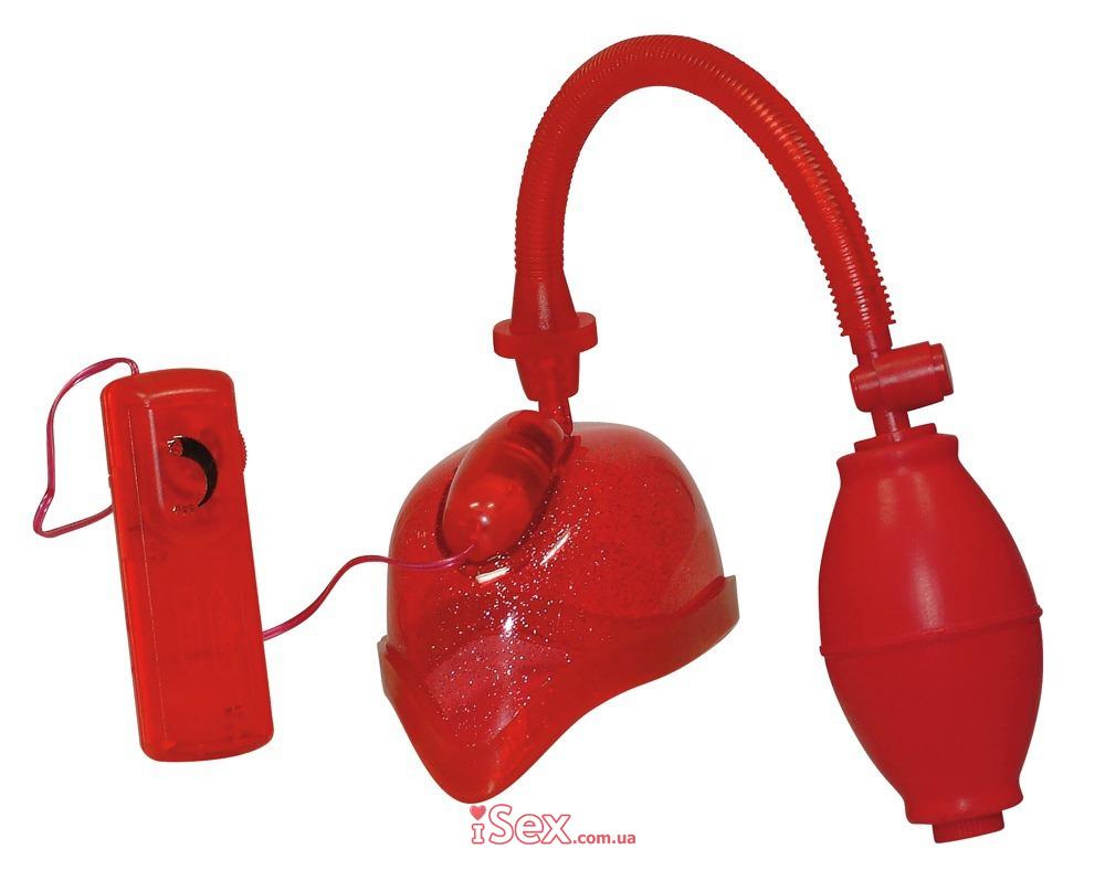 Красная помпа с вибрацией Vibrating Vagina Sucker
