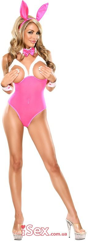 Sexy Pink Strapless Cut Bunny Costume Adultism 1